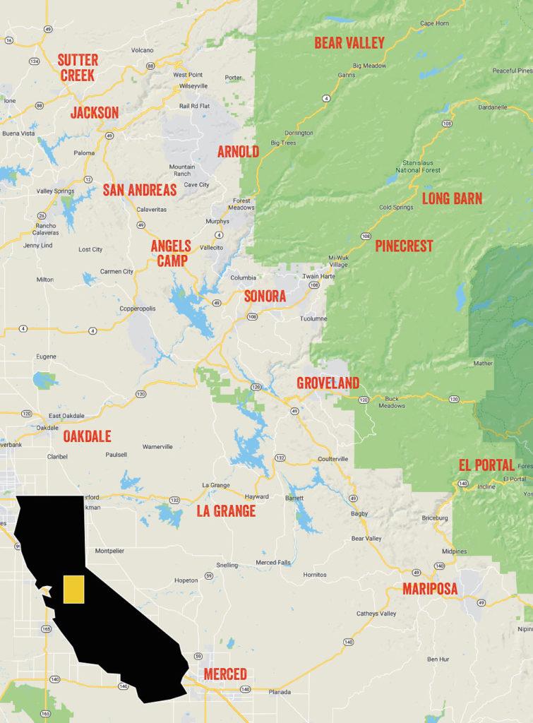 Nate's Tree Service area includess Amador, Calaveras, Tuolumne and Mariposa counties